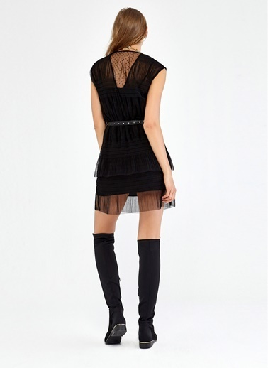 Lastik Bel Detaylı Transparan Elbise-Ipekyol